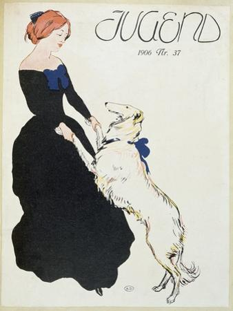 Lady with a Greyhound, Illustration from 'Jugend', 1906 by German School