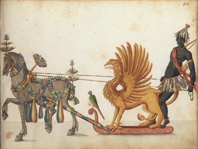Pageant sleigh in parade, c.1640