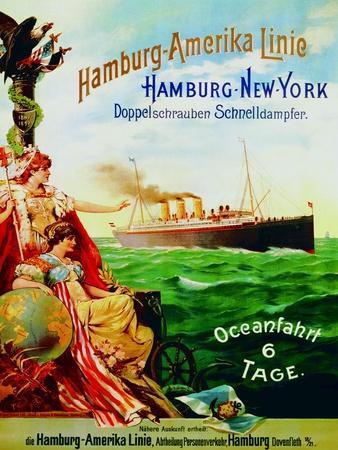 Poster Advertising the Hamburg American Line, 1897