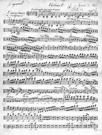 Sheet Music for the Overture to 'Egmont' by Ludwig Van Beethoven, Written Between 1809-10 (Print)