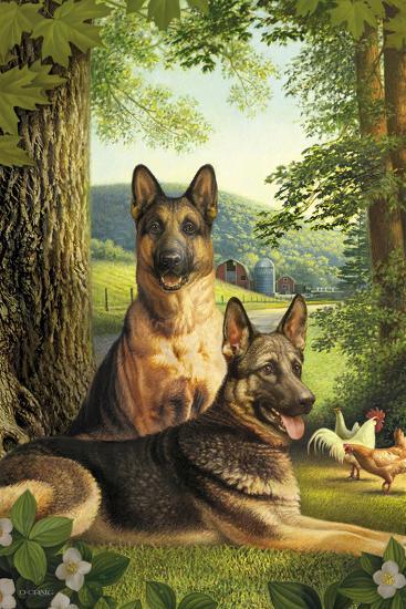 German Shepards/Chicken-Dan Craig-Giclee Print