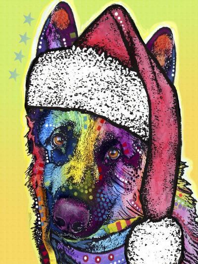 German Shepherd Christmas-Dean Russo-Giclee Print