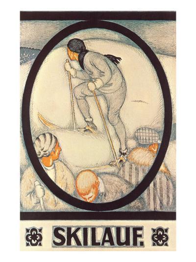 German Skiing Poster--Art Print