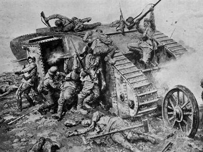 German Soldiers Attacking Stalled Allied Tank During the Battle of the Somme--Photographic Print