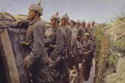German Soldiers Awaiting the Enemy in a Trench, World War I, 1914-1916--Photographic Print