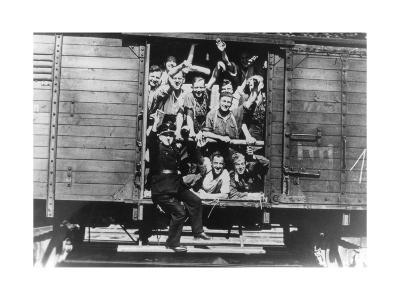 German Soldiers in a Railway Wagon, France, August 1940--Giclee Print