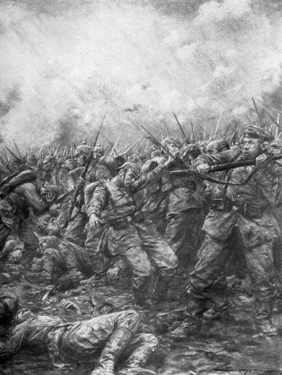 German Soldiers under Fire from Allied Guns, Flanders, World War I, 1914-J Simont-Giclee Print