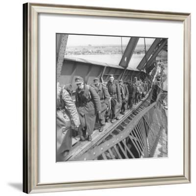 German Soldiers Walk over Elbe River to Surrender to Allied Forces in the Waning Days of WWII-William Vandivert-Framed Photographic Print