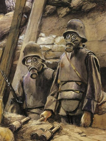 German Soldiers with Gas Masks, August 1917--Giclee Print