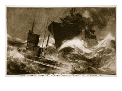 German Submarine Rammed by the British Destroyer Badger Off the Belgian Coast, 1914-19--Giclee Print