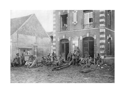 German Troops Sitting on the Steps of the Vareddes Town Hall, France, 1914--Giclee Print