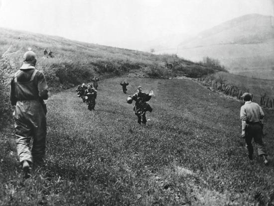 German Troops Surrendering to Soldiers of the American 1st Army, Near Elsborn, Germany, April 1945--Giclee Print