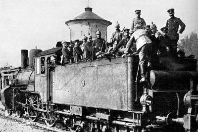 German Troops Travelling by Train to the Eastern Front, First World War, 1914--Giclee Print