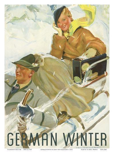 German Winter - Couple Sledding-Kurt Heiligenstaedt-Art Print