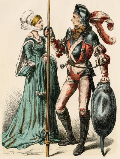 German Woman and a Man Wearing Armor of the Early 1500s--Giclee Print
