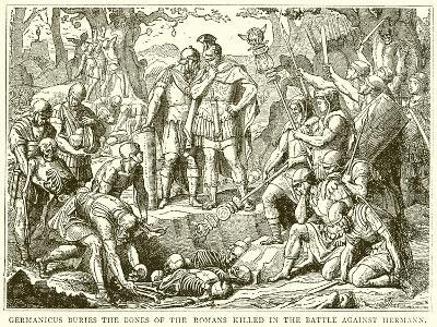Germanicus Buries the Bones of the Roman Killed in the Battle Against Hermann--Giclee Print