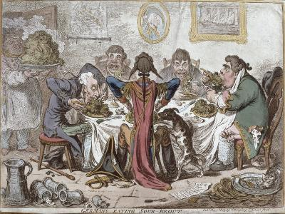 """Germans Eating Sour-Krout"", Pub. by Hannah Humphrey, 1803-James Gillray-Giclee Print"