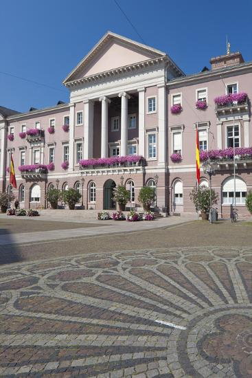Germany, Baden-W?rttemberg, Karlsruhe, Marketplace, City Hall, Stone Mosaic-Chris Seba-Photographic Print