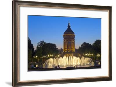 Germany, Baden-Wurttemberg, Mannheim, Water Tower, Water Fountains, in the Evening-Chris Seba-Framed Photographic Print