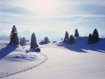 Germany, Bavaria, AllgŠu, Snow Scenery, Back Light, Alps, Mountains, Loneliness, Mountains, Winter-Herbert Kehrer-Photographic Print