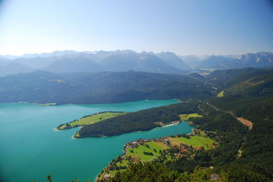 Germany, Bavaria, Alpine Upland, Walchensee, from Above, Summer-Peter Lehner-Photographic Print