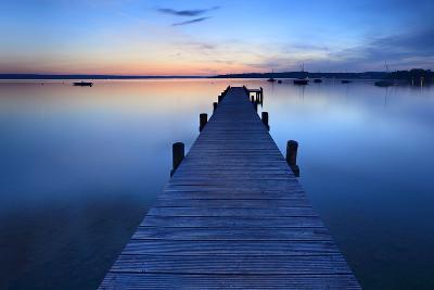 Germany, Bavaria, Ammersee (Lake Ammer), Herrsching, Footbridge at Sundown-Andreas Vitting-Photographic Print