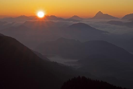 Germany, Bavaria, Bavarian Alpine Foothills, Jochberg, Sunrise Above the Mangfallgebirge, Halserspi-Bernd Rommelt-Photographic Print