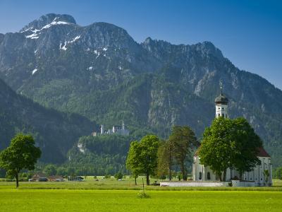 Germany, Bavaria (Bayern), Neuschwanstein Castle and Kolomanskirche-Alan Copson-Photographic Print
