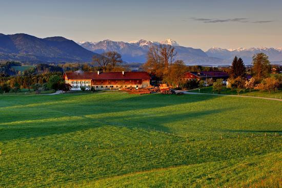 Germany, Bavaria, Farm in Front of Zwiesel, Bavarian Alpine Foothills Wetterstein Range-Bernd Rommelt-Photographic Print