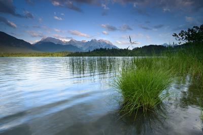 Germany, Bavaria, KrŸn, Evening Mood at Barmsee (Lake), View to Karwendel Mountains-Andreas Vitting-Photographic Print
