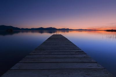 Germany, Bavaria, Lake Chiemsee, Sunset with Stšttham-Dieter Meyrl-Photographic Print