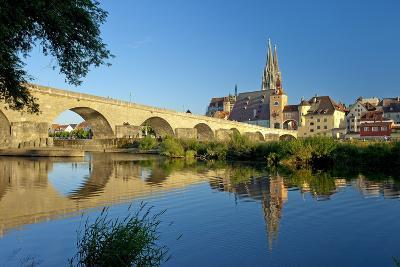 Germany, Bavaria, Regensburg, Old Stone Bridge, the Danube, Cathedral-Chris Seba-Photographic Print