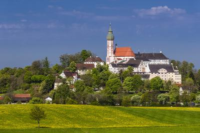 Germany, Bavaria, Upper Bavaria, F?nfseenland, Andechs, Spring Scenery with Cloister of Andechs-Udo Siebig-Photographic Print