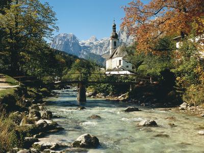 Germany, Berchtesgadener Land District, Ramsau, Church, Brook, Reiter Alpe-Thonig-Photographic Print