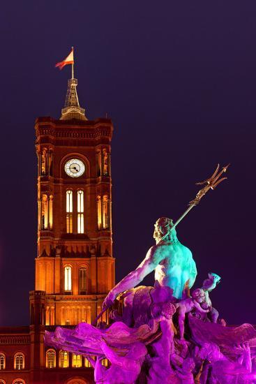 Germany, Berlin, Alexanderplatz Square, Christmas Fair, Illuminated Fountain of Neptune, Evening-Catharina Lux-Photographic Print