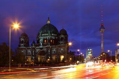Germany, Berlin, Berlin Cathedral, Illumination, Evening-Catharina Lux-Photographic Print