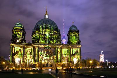 Germany, Berlin, Berliner Dom (Berlin Cathedral), Illumination, Evening-Catharina Lux-Photographic Print