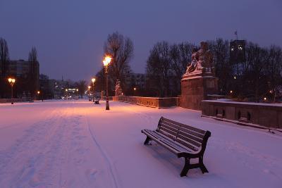 Germany, Berlin, Carl Zuckmayr Bridge, Early Morning, Snow-Catharina Lux-Photographic Print