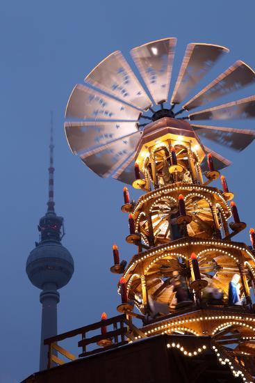 Germany, Berlin, Dusk, Alexanderplatz, Christmas Market, Pyramid, Television Tower-Catharina Lux-Photographic Print