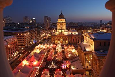 Germany, Berlin, Dusk, Gendarmenmarkt, German Church and Christmas Market from Above-Catharina Lux-Photographic Print