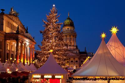 Germany, Berlin, Gendarmenmarkt, Christmas Market, Dusk, Dome, Lighting, Evening-Catharina Lux-Photographic Print