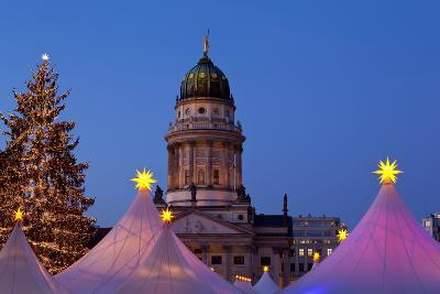 Germany, Berlin, Gendarmenmarkt, German Church, Dome, Dusk, Lighting-Catharina Lux-Photographic Print