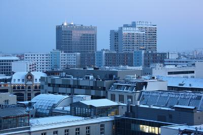Germany, Berlin Mitte, Dusk, Snowy Roofs-Catharina Lux-Photographic Print
