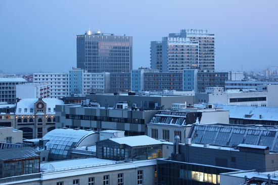 Germany, Berlin Mitte, Dusk, Snowy Roofs Photographic Print by Catharina  Lux | Art.com