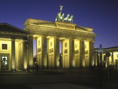 Germany, Berlin, Mitte, Pariser Platz, the Brandenburg Gate, Early Classicism, Dusk-Andreas Keil-Photographic Print