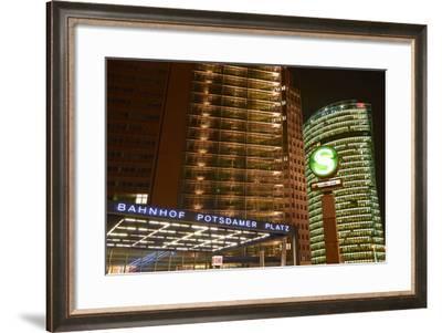 Germany, Berlin, Potsdamer Platz, Subway Station and City Train Station, Night-Christian Hikade-Framed Photographic Print