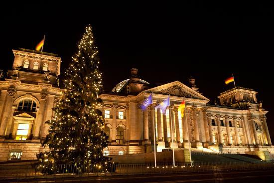 Germany, Berlin, Reichstag, Christmas Decoration, Night-Catharina Lux-Photographic Print