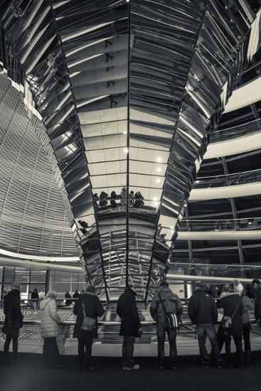 Germany, Berlin, Reichstag, Dome Interior, Evening-Walter Bibikow-Photographic Print