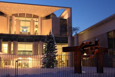 Germany, Berlin, Snow, German Chancellery, Night Photography-Catharina Lux-Photographic Print