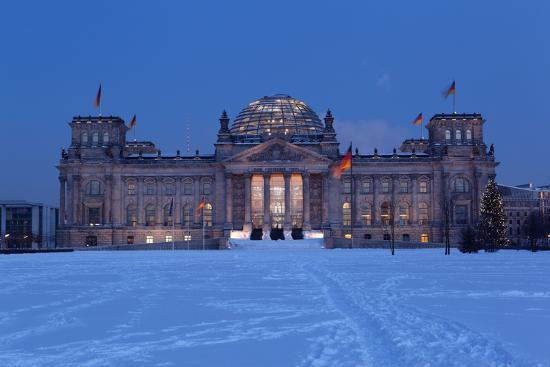 Germany, Berlin, Snow, Reichstag, Night Photography-Catharina Lux-Photographic Print